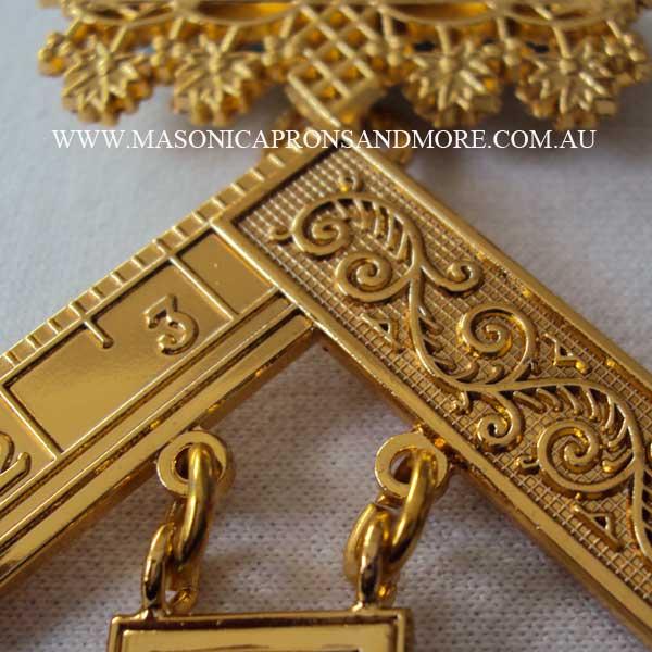 Masonic Craft Master Mason Apron with Pocket (Imitation), Collar, Jewel,  Regalia Case(Hard) & Gloves Set (5105-IMI-H)